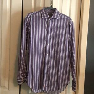 Thomas Dean purple and grey button down shirt Med
